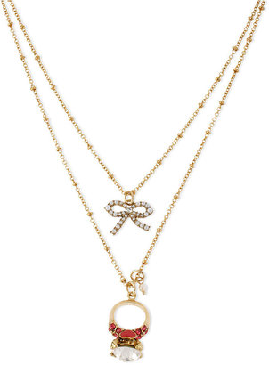 Betsey Johnson Necklace, Antique Gold-Tone Glass Crystal Two-Row Engagement Ring Necklace