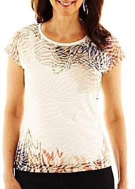 JCPenney Lark Lane® Short-Sleeve Burnout Print Knit Top with Tank Top
