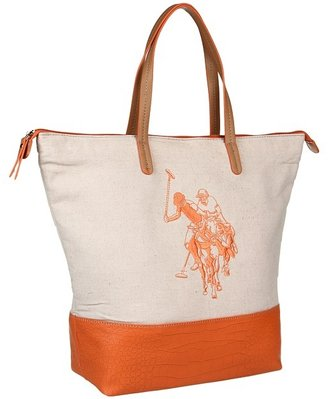 U.S. Polo Assn. Publicize Tote (Natural/Orange) - Bags and Luggage