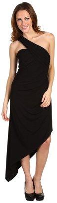 Laundry by Shelli Segal One Shoulder Jersey Dress w/ Asymmetrical Hem (Black) - Apparel