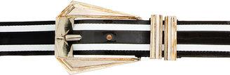 Balmain Black & White Striped Patent Leather Belt