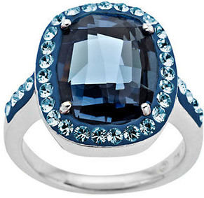 Lord & Taylor Sterling Silver Denim Blue Crystal Ring