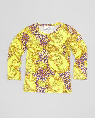 Versace Swirl-Leopard Print Top, Yellow/Purple, Sizes 2-6