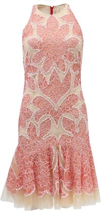 Naeem Khan Racer Cut Floral Lace Dress