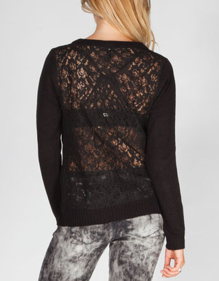 Full Tilt Lace Back Womens Cardigan