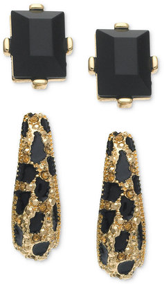 GUESS Earring Set, Gold-Tone Jet Stone Stud and Leopard Stone Hoop Earrings