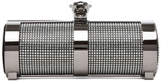 Stark Fierce Crystal Shadow Clutch in Silver