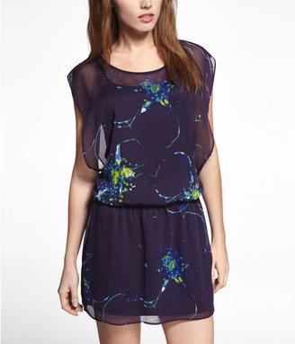 Express Printed Chiffon Drop Elastic Waist Dress