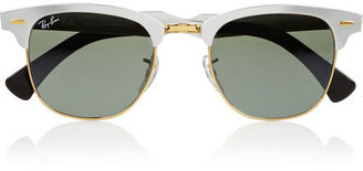 Ray-Ban Clubmaster D-frame aluminum mirrored sunglasses