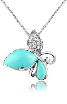 Del Gatto Diamond Gemstone Butterfly 18K Gold Pendant Necklace