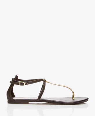 Forever 21 Metallic Faux Leather Thong Sandals