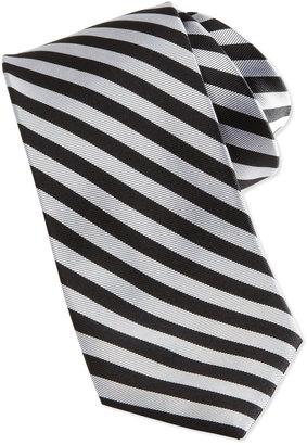 Neiman Marcus Bias Stripe Skinny Silk Tie, Black