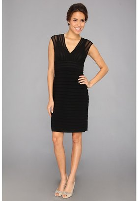 Adrianna Papell Illusion Banded Shutter Dress (Black) - Apparel