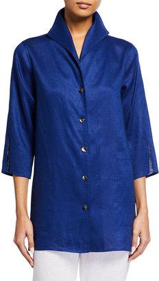 Caroline Rose Plus Size Tissue Linen 3/4-Sleeve Button-Down Gallery Shirt