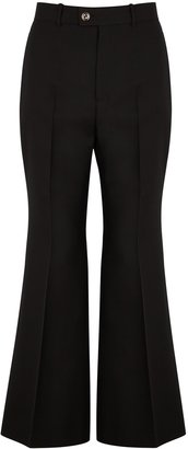 Gucci Black Flared Silk And Wool-blend Trousers