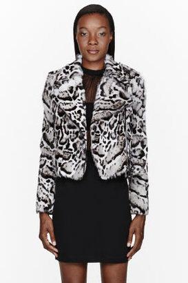 Christopher Kane Grey Snow leopard calf-hair Biker Jacket