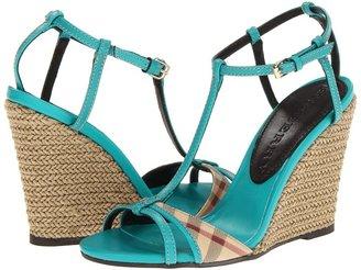 Burberry Haymarket Check Wedge Sandal Women' Wedge Shoe