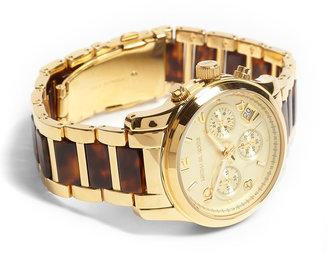 Michael Kors Gold And Tortoiseshell Chronograph Watch