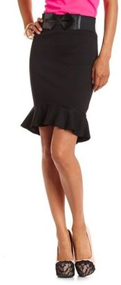 Charlotte Russe Bow Belt Ruffled Pencil Skirt