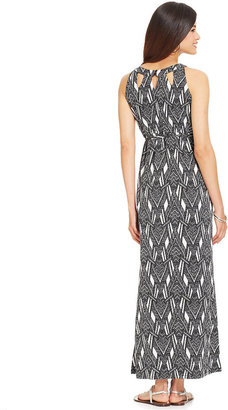 Style&Co. Petite Printed Cutout Maxi Dress
