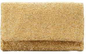 Moyna Beaded Flap-Top Clutch Bag, Gold