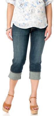 Motherhood Web Only Indigo Blue Petite Secret Fit Belly® Cuffed Maternity Crop Jeans