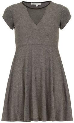 Dorothy Perkins Grey mesh skater tee dress