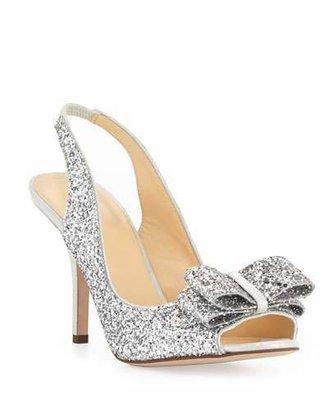 Kate Spade Charm Glittered Bow Slingback, Silver