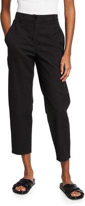 Eileen Fisher Organic Cotton-Hemp High-Waist Tapered Ankle Pants