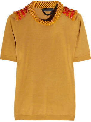 Burberry Embellished silk and cotton-blend top