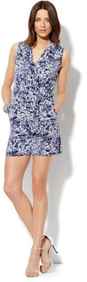 New York & Co. Faux-Wrap Print Romper - Blue