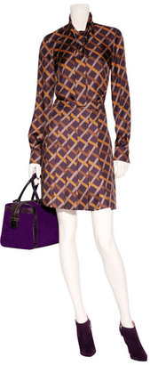 Salvatore Ferragamo Purple-Multi Pleated Silk Skirt
