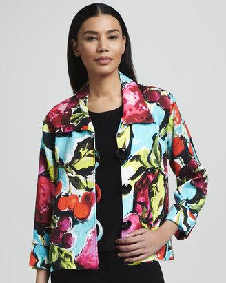 Caroline Rose Fruit-Print Pique Jacket
