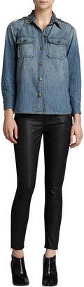 Current/Elliott Soho Coated-Denim Stiletto Pants, Black