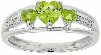 FINE JEWELRY Genuine Peridot & Diamond-Accent Heart-Shaped 3-Stone Sterling Silver Ring