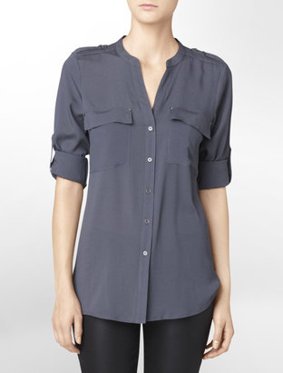 Calvin Klein Roll-Up Crepe Shirt