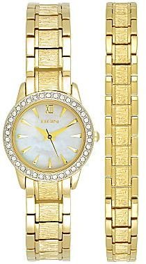 Elgin Women's Gold-Tone Crystal-Accent Watch Set