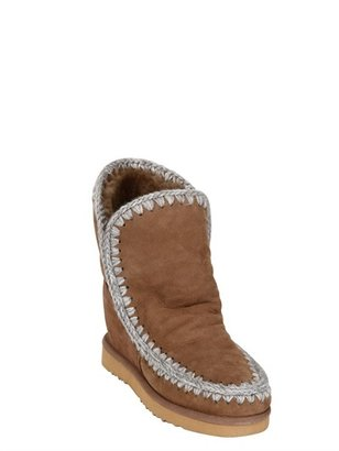 Mou 70mm Shearling Wedge Eskimo Boots