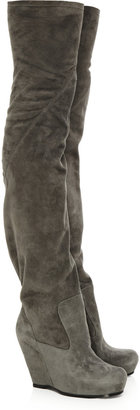 Rick Owens Suede wedge thigh boots