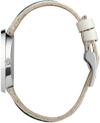 Gucci Women's U-Play Silver Guccisima Leather Watch Strap and Bezel 35mm YFA50033