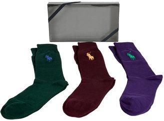 Ralph Lauren Purple/Fir Green/Bordeaux Set of Classic Socks