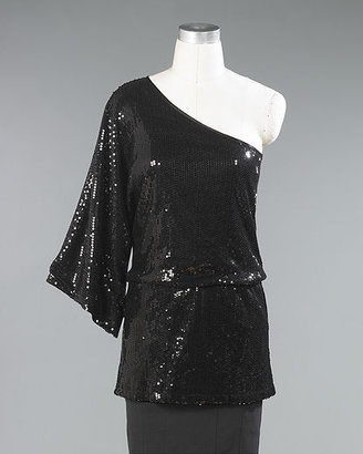 Newport News Sequined Single-Sleeve Tunic Top by Shape fx®