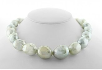 excellent (EX) Jewel of ocean 18K White Gold Diamond and South Sea Baroque Pearl Necklace