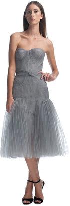 Zac Posen Shirred Strapless Cocktail Dress