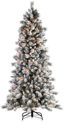 Bed Bath & Beyond 7 1/2-Foot Flocked Barrington Artificial Pine Tree with 300 Clear Lights