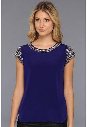 Rebecca Taylor S/S Tee w/ Embellishment (Violet) - Apparel