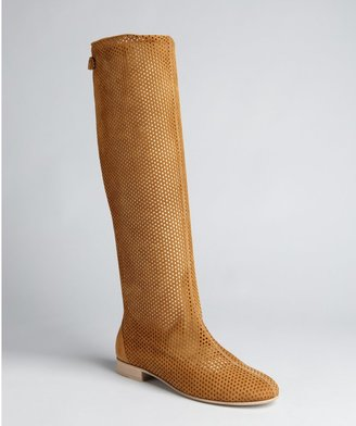 Fendi Nut Perforated Leather Tall Flat Boots