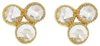 Sethi Couture Triple Rose Cut Diamond Stud Earrings - Yellow Gold
