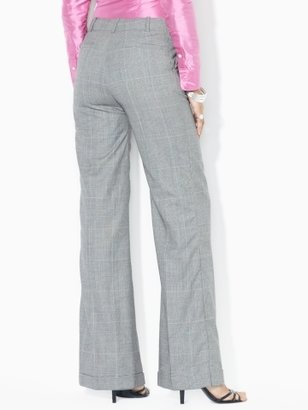 Ralph Lauren Plaid Wool Wide-Leg Pant