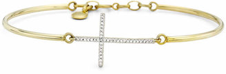 Silver Cross FINE JEWELRY 1/10 CT. T.W. Diamond 14K Yellow Gold Over Sterling Bangle